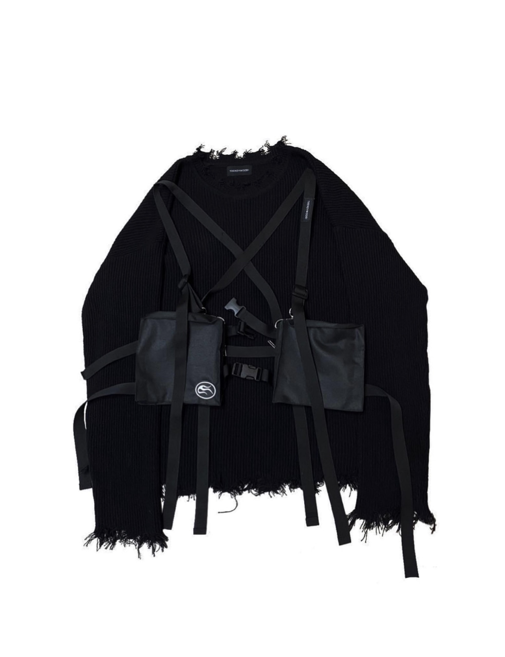 distressed harness knit
