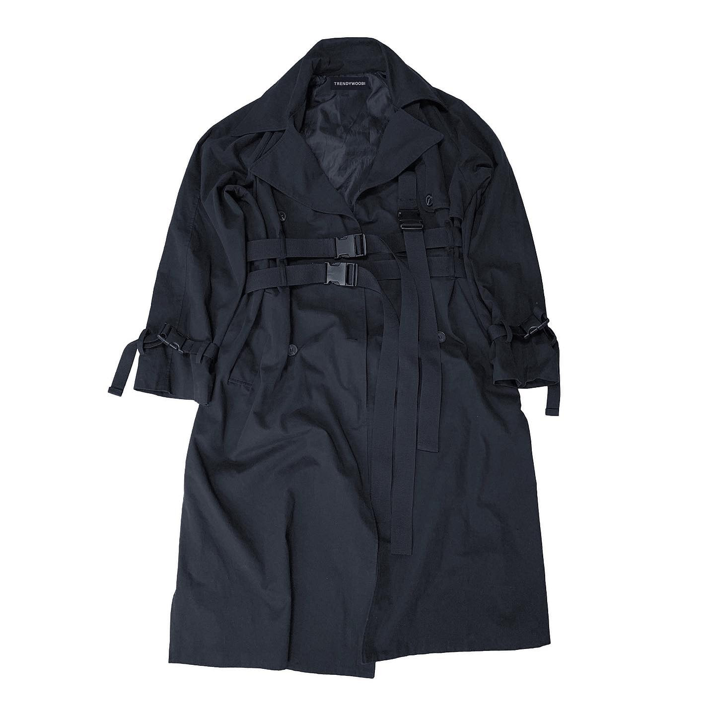 Black 3rope strap trenchcoat
