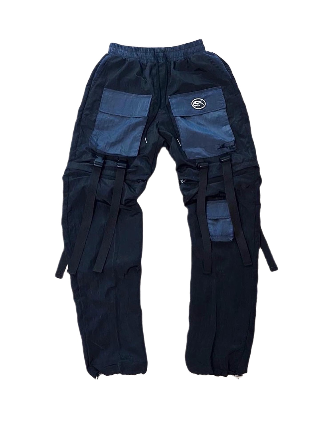 nylon metal two-way pants blue