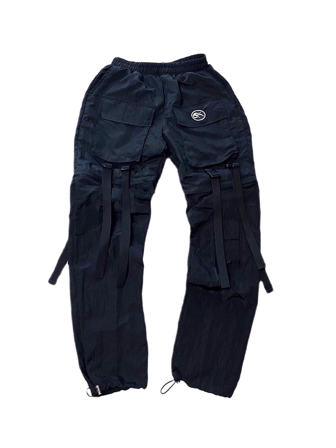 nylon metal two-way pants black