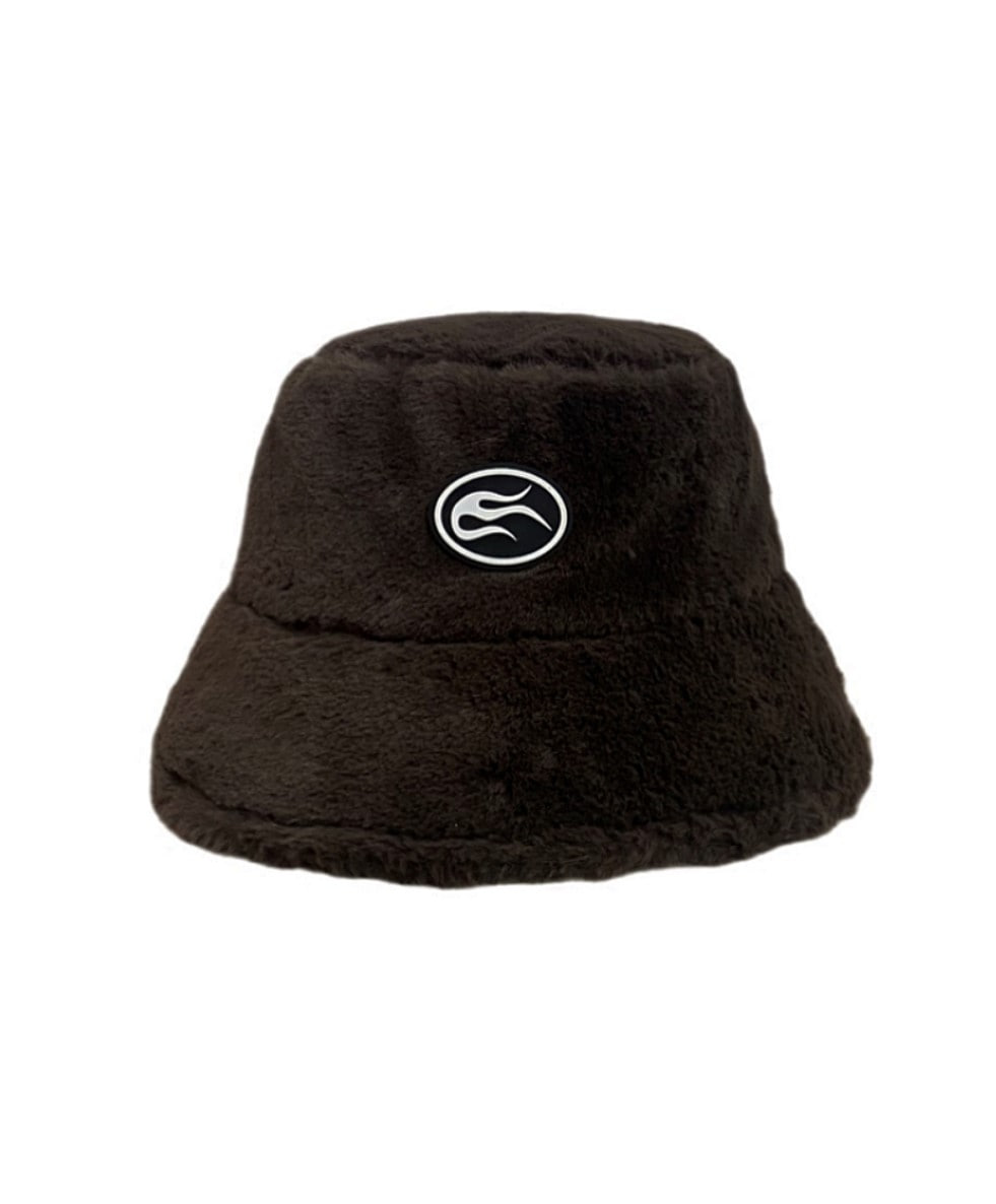 Brown fleece bucket hat
