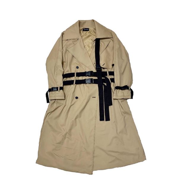 brown 3rope strap trenchcoat